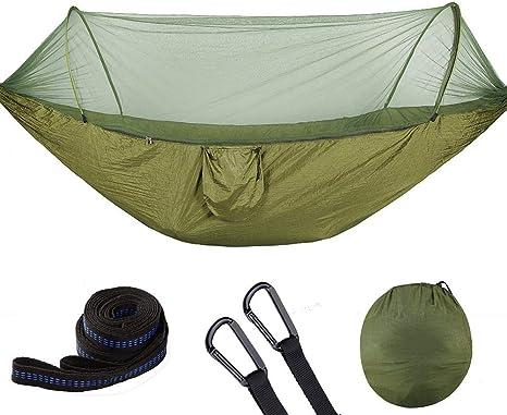 Zerodis - Hamaca de camping con mosquitera y tienda de campaña, 250 x 120 cm, portátil, ligera, de nailon de paracaídas, hamaca con correas de árbol ...