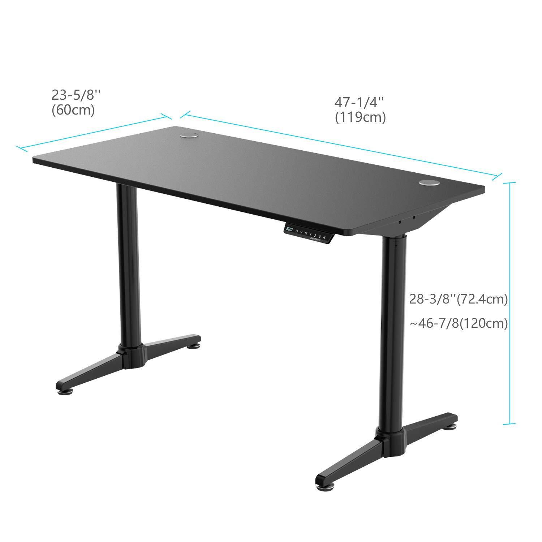 [New Generation] Eureka Ergonomic Electric Standing Desk, Adjustable Height Stand Up Desk Computer Desks Dual Motor Self-Locking Protection Suitable for Home Office (Black)