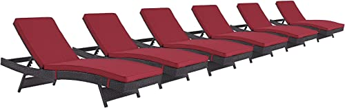 Modway Convene Wicker Rattan Outdoor Patio Chaise Lounge Chairs in Espresso Red – Set of 6
