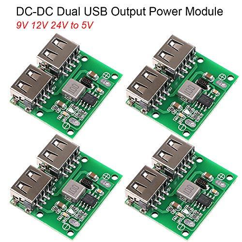 MakerHawk 4pcs USB DC-DC Voltage Buck Regulator Step Down Power Supply Module 9V 12V 24V to 5V Dual USB Output Buck Voltage Board 3A 6-26V Car Charge Charging Regulator