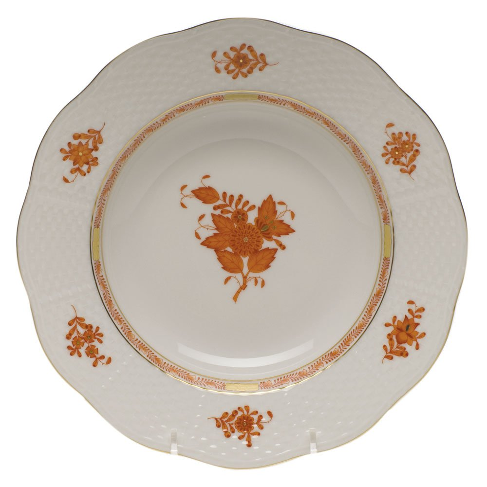 Herend Chinese Bouquet Rust Rim Soup Plate