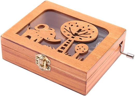 Demiawaking Caja musical de madera grabada con mecanismo de viento ...