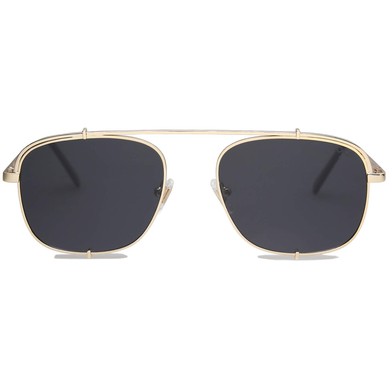 SOJOS Small Square Polarized Sunglasses with Spring Hinges Mirrored Lens SUNRAYS SJ1103 with Gold Frame/Grey Polarized Lens by SOJOS