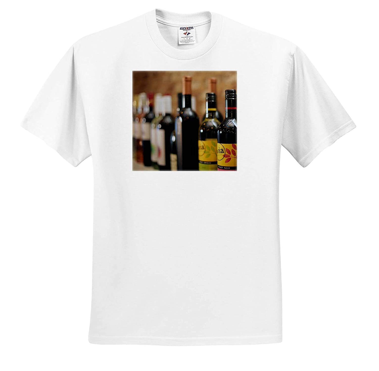 - T-Shirts Photograph of Wine Bottles Lined up on a Shelf Waiting to be Drank 3dRose Stamp City Still Life