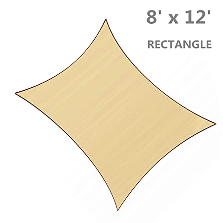 SUNLAX 8 x 12 Rectangle Sun Shade Sail Sand Color UV Resistant for Outdoor Patio Lawn Garden Activities