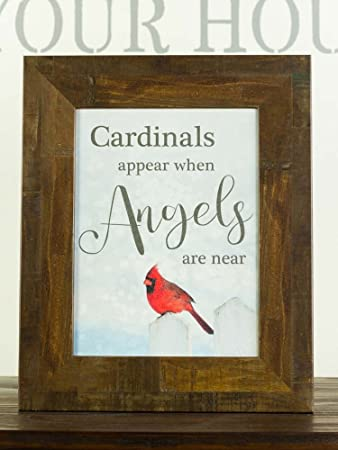 Cardinals Appear When Angels Are Near Sympathy Red Cardinal Religious Framed Art Decor 13×16 Restoration Brown