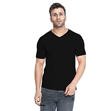 d9a3f4d80a CHKOKKO Dry Fit V Neck Polyester Half Sleeves Plain Sports and Gym T Shirt  for Men's