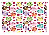 Girls Boys Toddlers Baby Room Daycare Decor Collection Adorable Cute Comic Colorful Funny Owls Birds and Hearts Window Treatments for Kids Bedroom Curtain 2 Panels Set