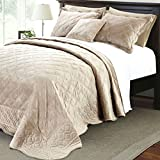 Oversized King Comforters 120x120 Home Soft Things Serenta Super Soft Microplush Quilted 4 Piece Bedspread Set, King, Taupe