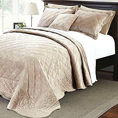 """Home Soft Things Supersoft Bedspread & Coverlet Set, 110"""" x 120"""", Taupe - Oversized Bedspread ; Please Check Dimensions Carefully Queen Size Bedspread: 110 x 120 Inches (2) Queen Shams: 20 X 26 Inches - comforter-sets, bedroom-sheets-comforters, bedroom - 61etXxQDXEL. SS400  -"""