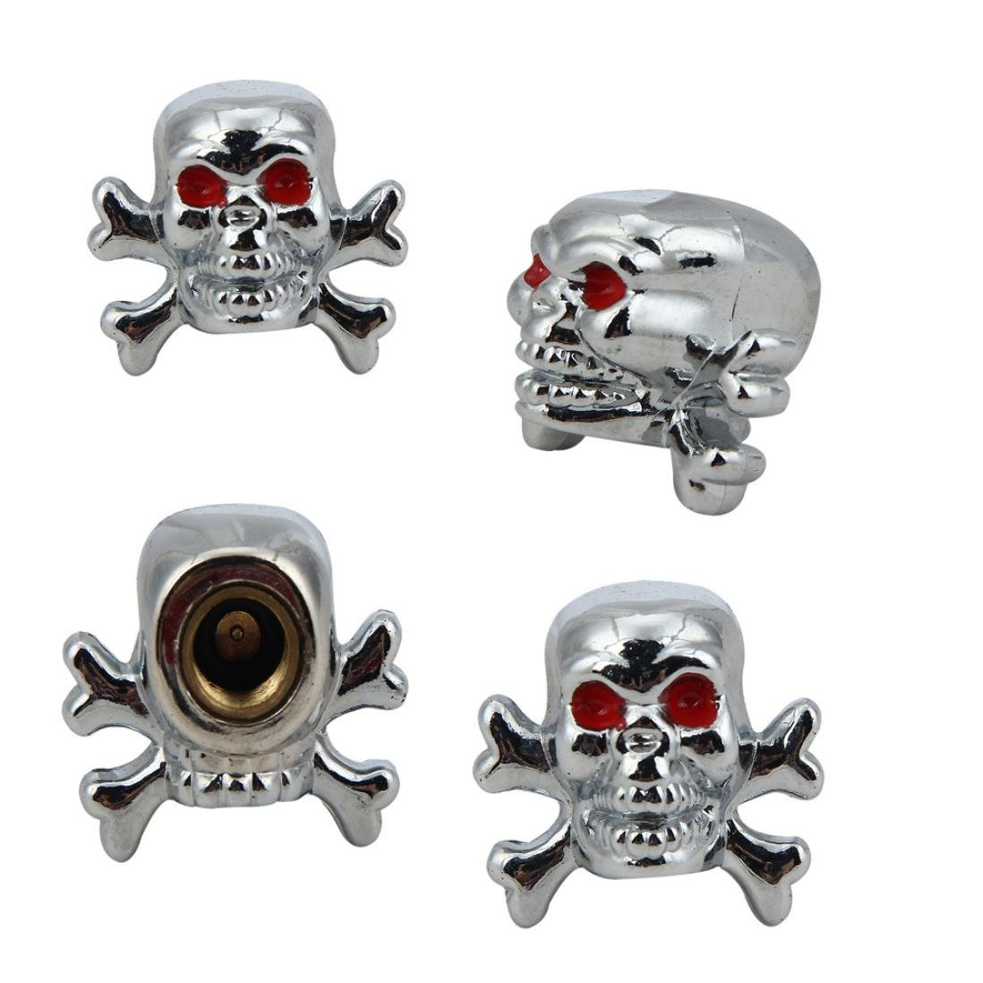 Glumes Sivler Skull Tire/Wheel Stem Air Valve Caps Covers, for Car, Truck, Hot Rod ATV, Motorbike, Bike, 4pcs (Silvery)
