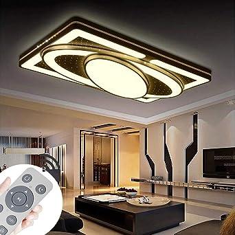 Deckenlampe LED Deckenleuchte 90W Wohnzimmer Lampe Modern Deckenleuchten  Kueche Badezimmer Flur Schlafzimmer (Schwarz, 90W-Dimmbar)