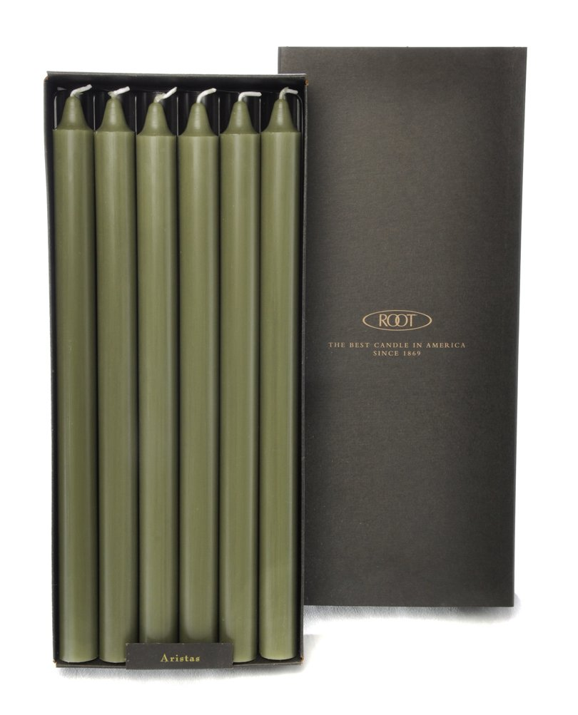 Root Candles Unscented Smooth Arista 12-Inch Dinner Candles, 12-Count, Dark Olive by Root Candles