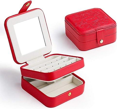 Ningz0l Caja Joyero, Cuero Doble con Cierre de botón a presión para Anillos Aretes Pendientes Pulseras Y Collares Viaje Cajas para Joyas para Regalo El 11.5 * 11.5 * 5.7cm: Amazon.es: Hogar