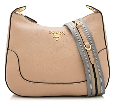 91b6c92a4e74 Prada Vitello Daino Tan Leather Shoulder Handbag with Silver and Blue Nylon  Web Striped Strap 1BC052: Handbags: Amazon.com