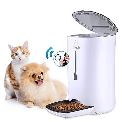 Iseebiz 7L Comedero Automtico Gatos/Perros Dispensador Comida para Mascotas con Recordatorio por Voz y Temporizador Programable, Pantalla LCD