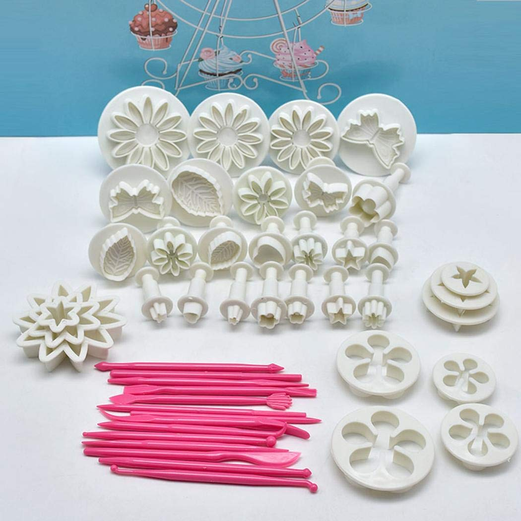 Kindsells Kitchen 47pcs Set Fondant Cake Biscuit Embossed Decoration Mold Set Sculpting & Modeling Tools (White)