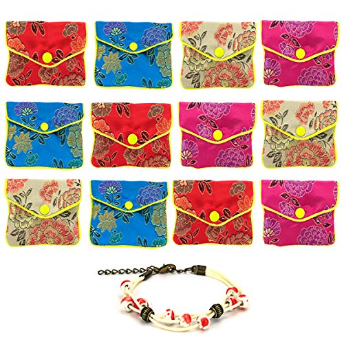 GemEwell 12pcs Jewelry Silk Purse Pouch Chinese Embroidered Brocade Zipper Gift Packwith 1 Ceramic Bracelet