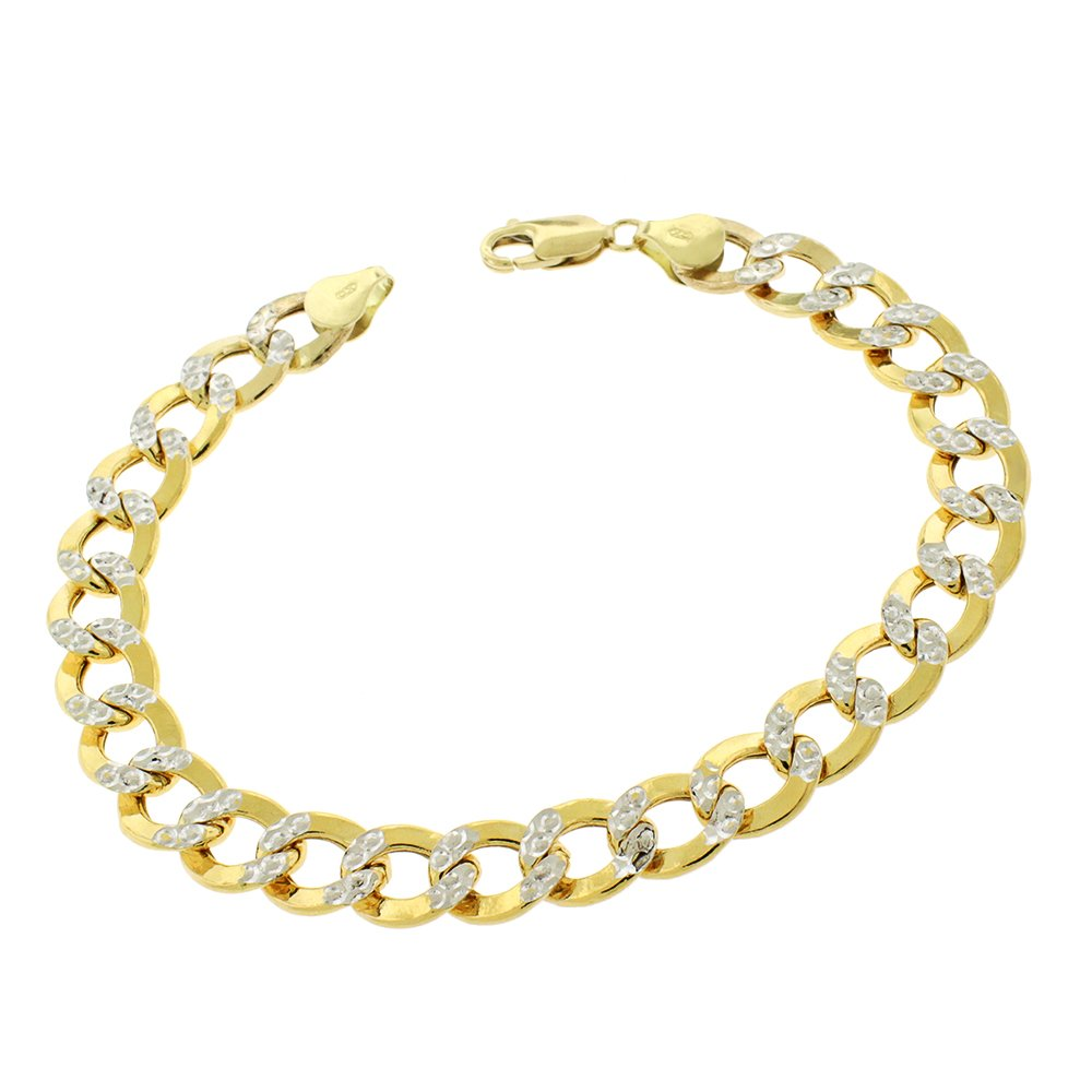 14k Yellow Gold 9.5mm Hollow Cuban Curb Link Diamond Cut Two-Tone Pave Bracelet Chain 9'' by In Style Designz