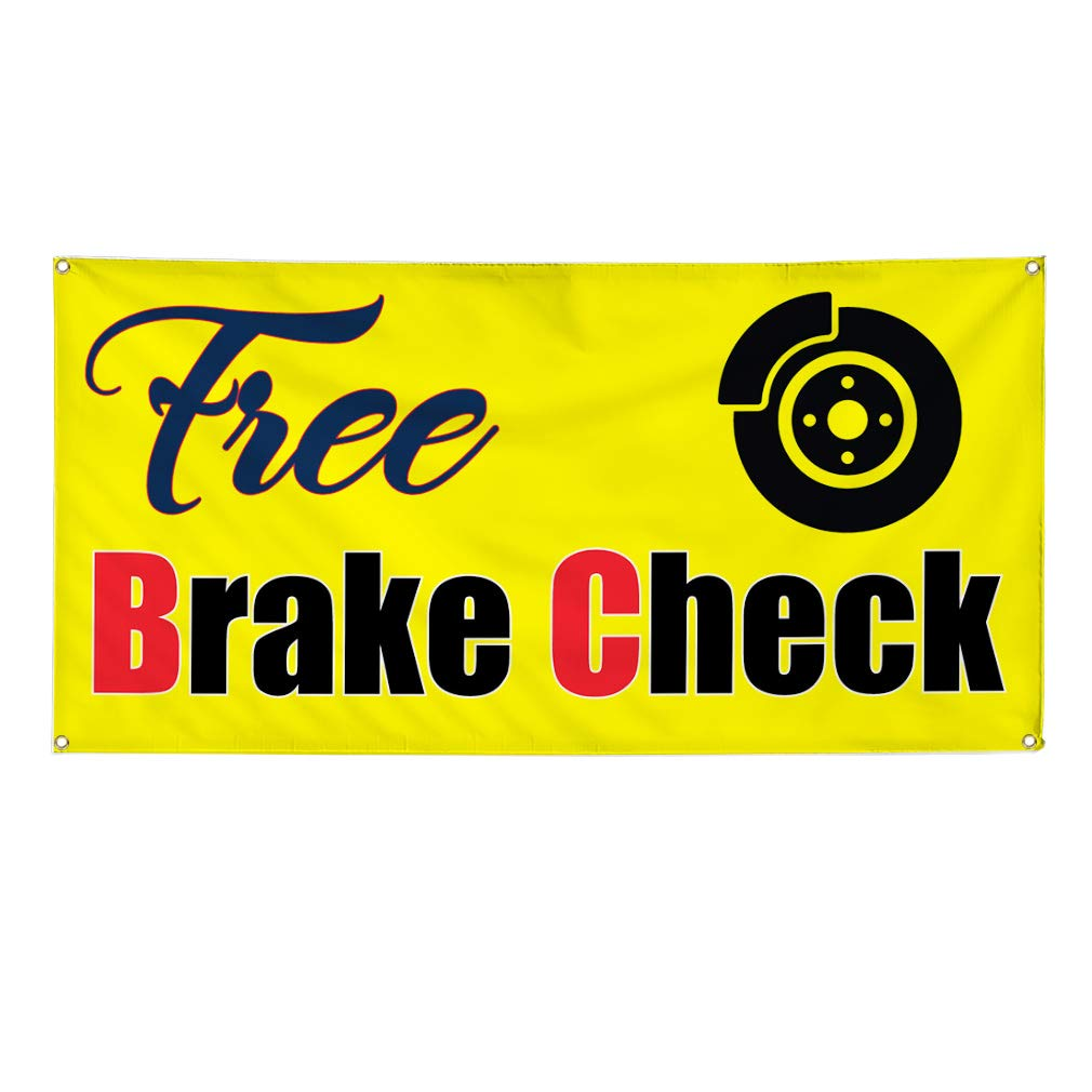 Multiple Sizes Available Set of 2 6 Grommets 32inx80in Vinyl Banner Sign Free Brake Check #1 Automotive Free Marketing Advertising Yellow