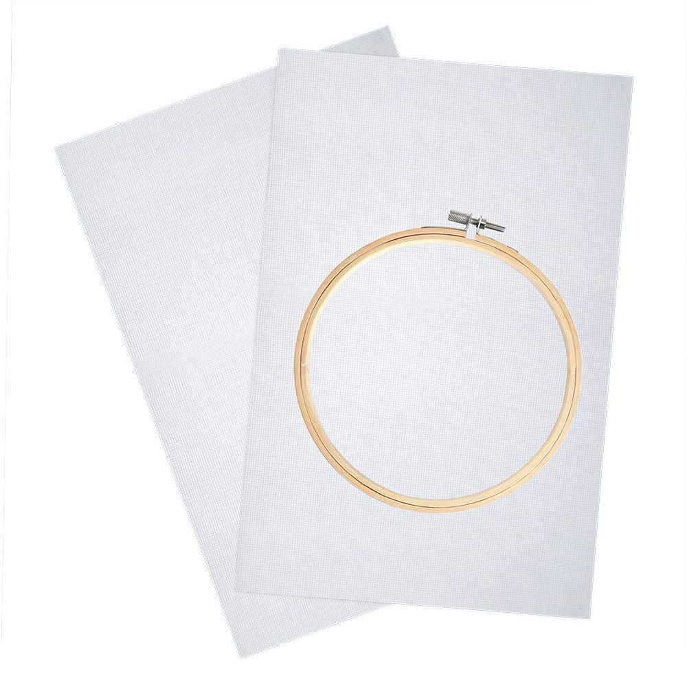 Caydo 2 Pieces Classic Reserve Aida Cloth Cross Stitch Cloth 14 Count White and 1 Piece Round Bamboo Embroidery Hoop