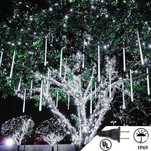 LED Meteor Shower Rain Lights 50cm 10 Tube Falling Rain Xmas Lights Icicle Snow Falling Raindrop Lights Outdoor Meteor Lights Waterproof for Xmas Party Wedding (White)