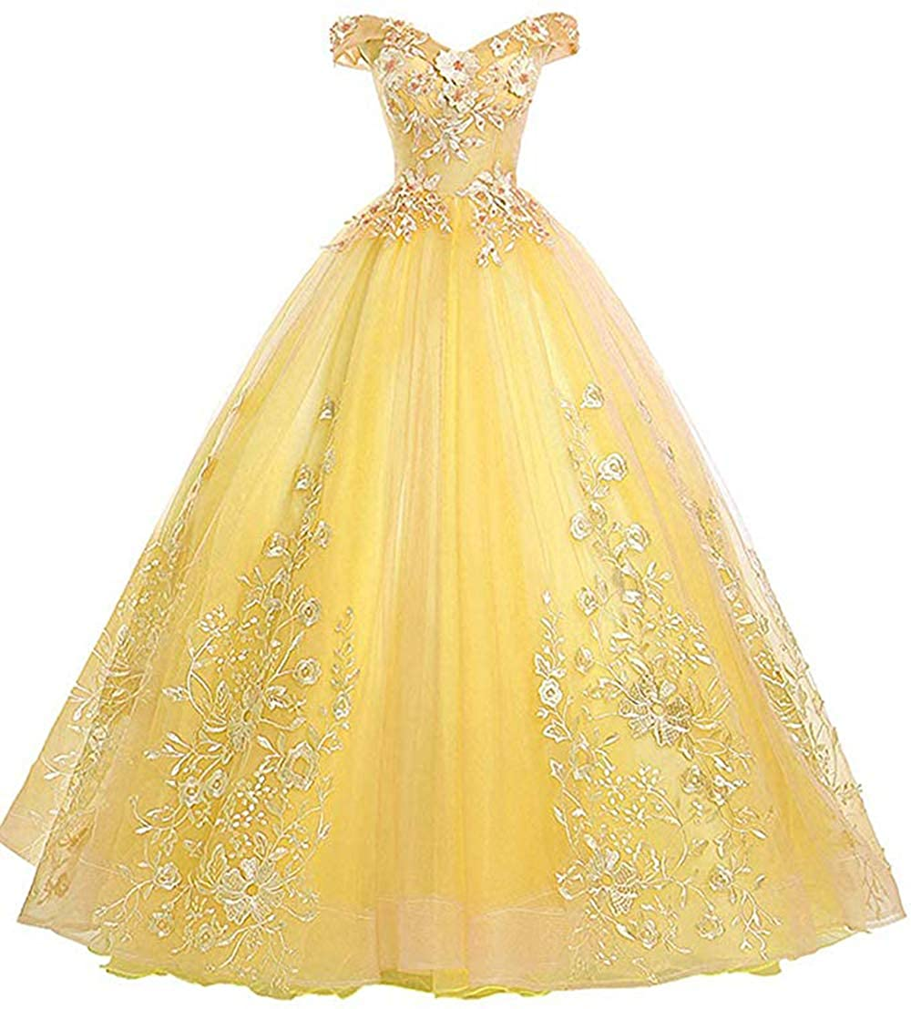 Yellow Womens Off Shoulder Quinceanera Dresses Lace Applique Beaded Prom Dresses A Line Tulle Evening Formal Gowns