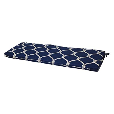 "Comfort Classics Inc. Outdoor Bench Cushion with Welt 46"" L x 17"" W x 2.5"" H. Polyester Fabric Blue Rope : Garden & Outdoor"