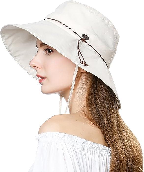 61b4f1c18644ca UV50 Foldable Sunhat Women Ponytail Hole Safari Beach Fishing Bucket Hat  55-61CM