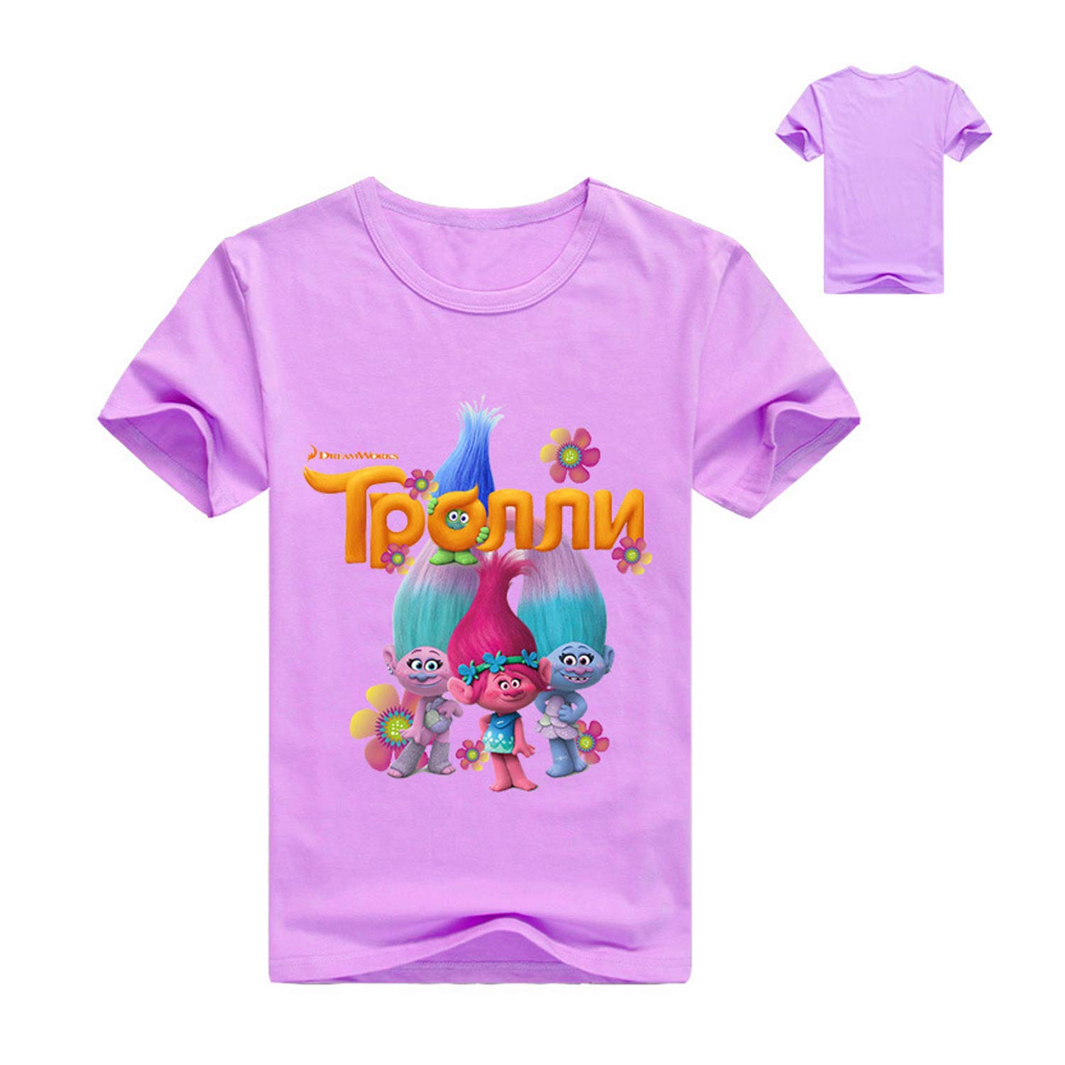 PCLOUD Childrens Trolls Printed Pure Color Leisure Short Sleeved T-Shirt