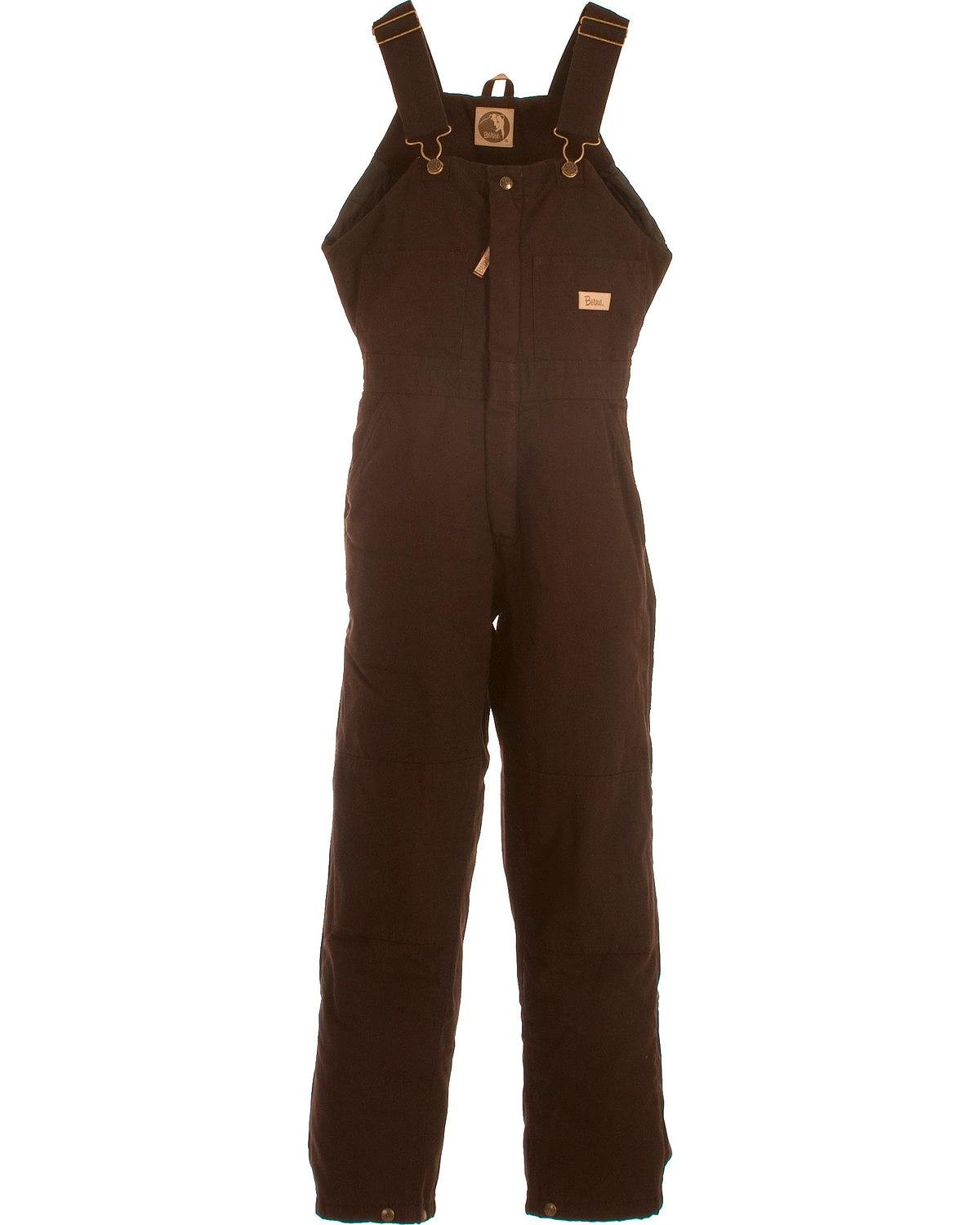 Berne Women's Washed Insulated Bib Overalls Short Dark Brown LS