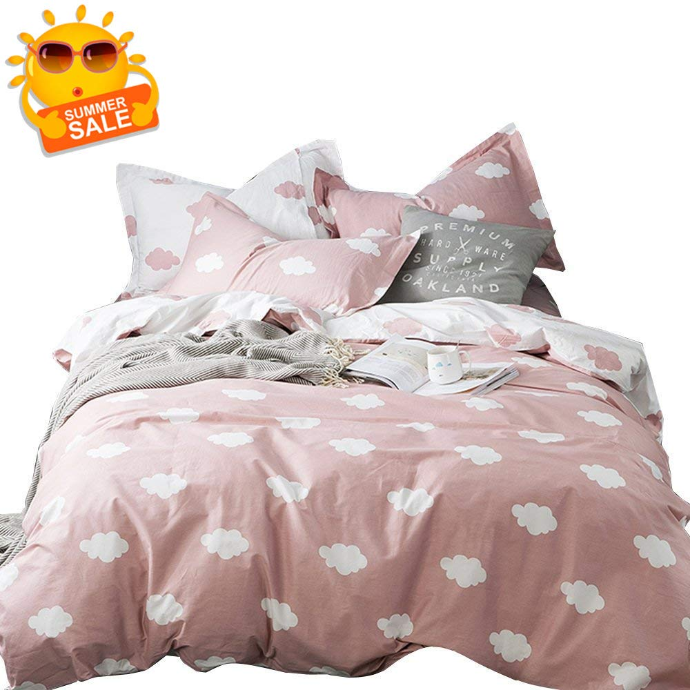 BuLuTu Cloud Queen Duvet Cover Pink White Cotton for Girls Women,Stylish Premium Modern Reversible Cute Full Size Kids Teen Bedding Sets Queen Comforter Cover with Zipper Closure,No Comforter