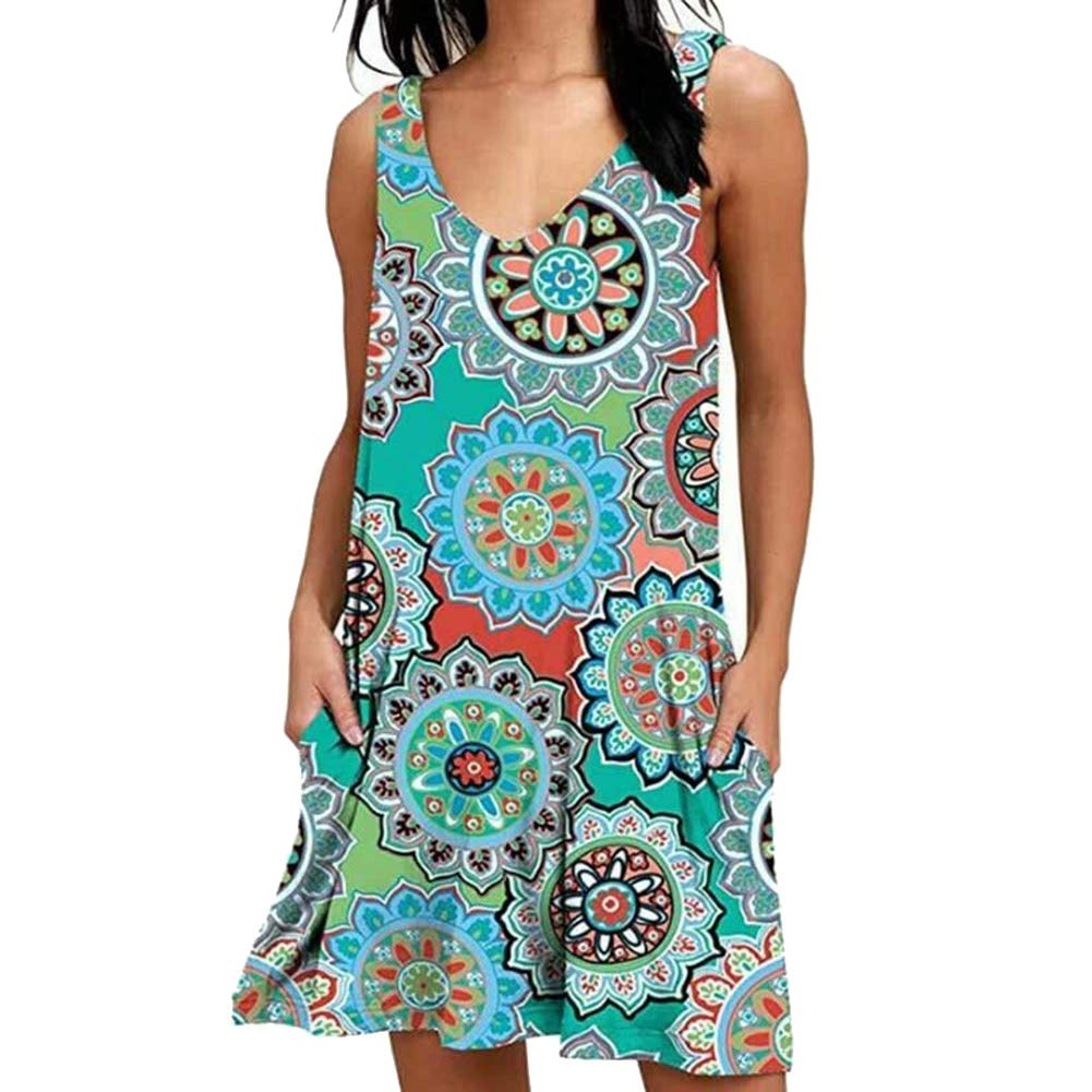 Howardee Women Sleeveless V Neck Printed Boho Dress Sundress for Summer Holiday Beach