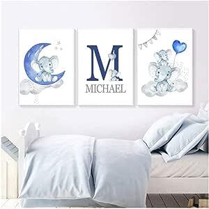 Blue Moon Balloon Canvas Art Print Poster Elefante Arte de