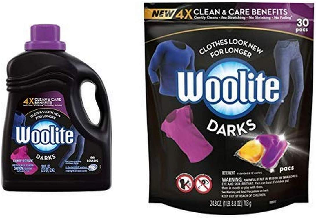 Woolite DARKS Liquid Laundry Detergent, 66 Loads, 100oz, Regular & HE Washers, Dark & Black Clothes & Jeans, midnight breeze scent AND Laundry Detergent Pacs, 30 Count, for Standard and HE Washers