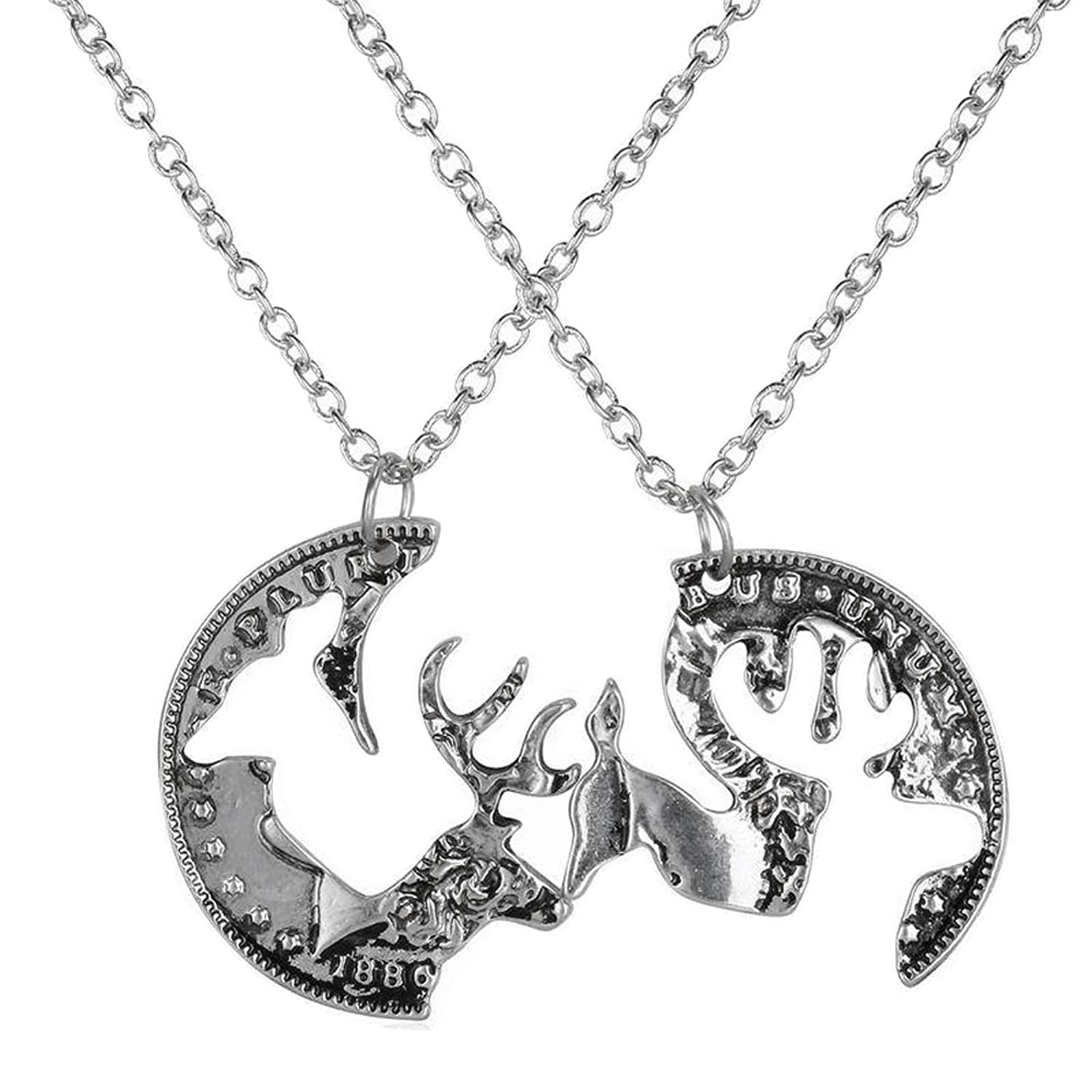 Amazon.com: Pack of 2 Vintage Silver Coin Stag Deer Couple ...