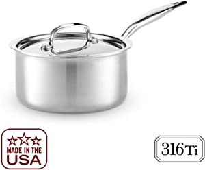 Heritage Steel 3 Quart Saucepan - Titanium Strengthened 316Ti Stainless Steel with 7-Ply Construction - Induction-Ready and Dishwasher-Safe, Made in USA