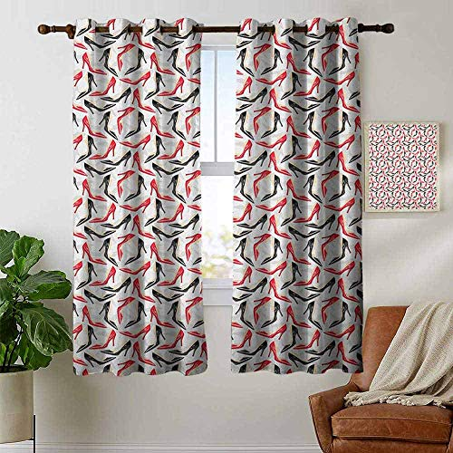 Blackout Curtains Red and Black,Women Fashion Pattern with High Heel Stiletto Shoes Ladies Footwear, Scarlet Black Beige,Thermal Insulated Panels Home Décor Window Draperies for Bedroom 42
