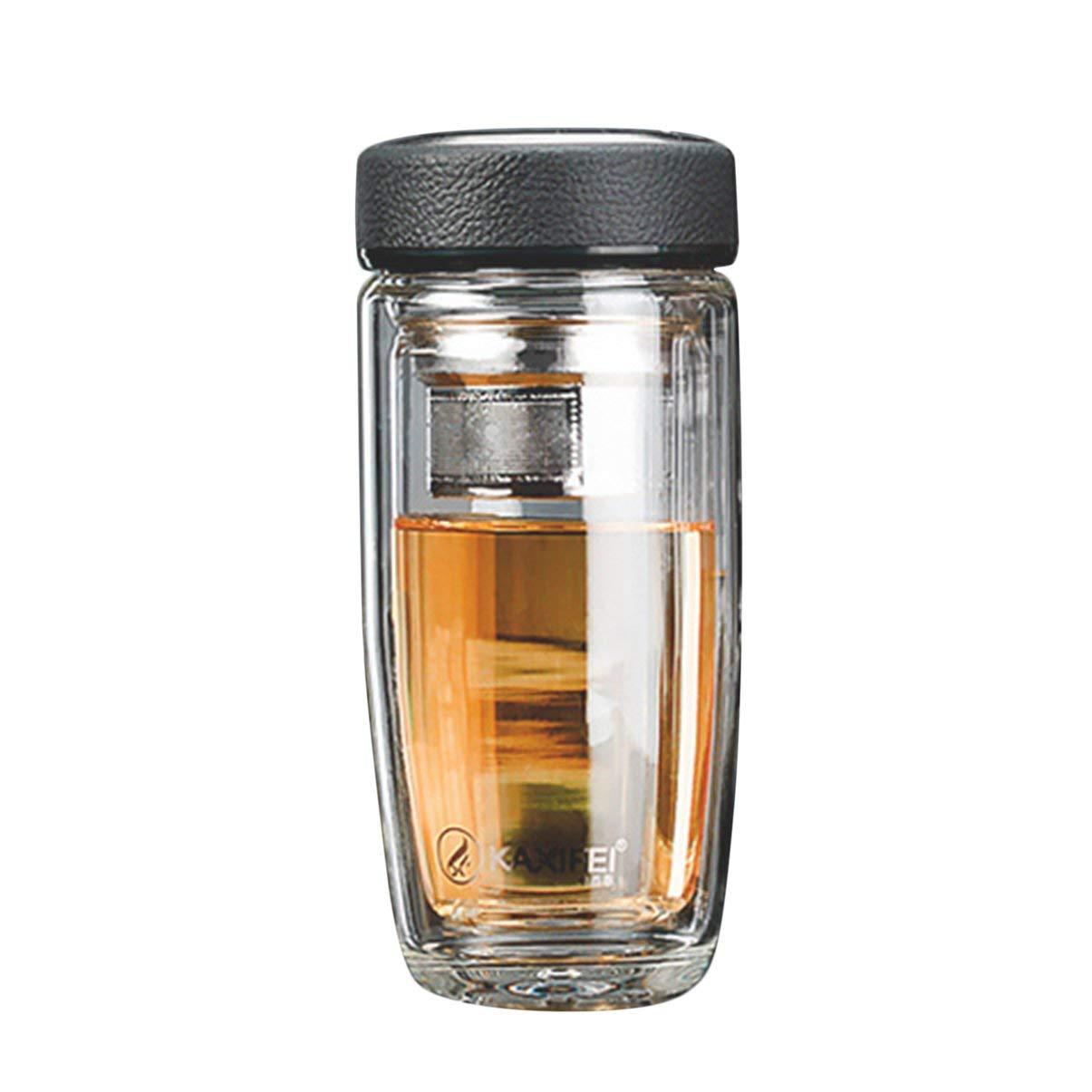 JullyeleESgant Doble Capa de Vidrio Café Té Botella de Agua Taza Resistente al Calor Aislada Borosilicato Vidrio Filtro de té Botella de Oficina de Negocios