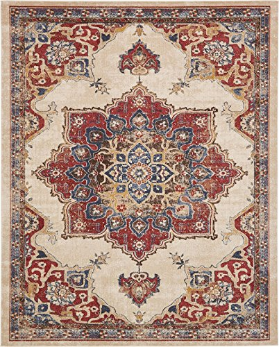 Traditional Persian Rugs Vintage Design Inspired Overdyed Fancy Cream 8' x 10' FT (244cm x 305cm) St. James Area (Gold Medallion Kashan Rug)