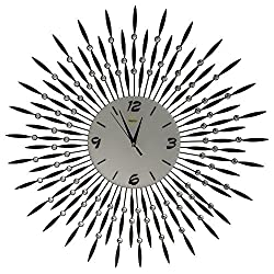 Gorgeous Wall Art Decortive Clock Stylish Silent Wall Clock with Black Metal Sunburst Shape for Living Room White Glass Dial 27''