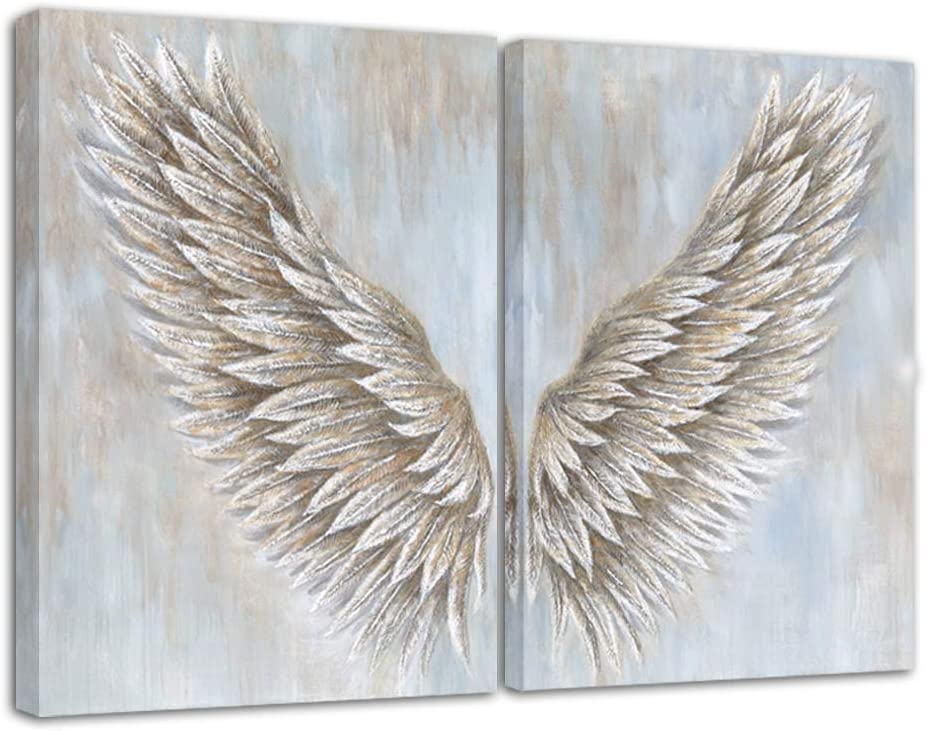 Angel Wings Canvas Print Wall Painting Art Decor Teen Room Wooden Frame Stretched Ready to Hang - 12x16 inch x2 Panel