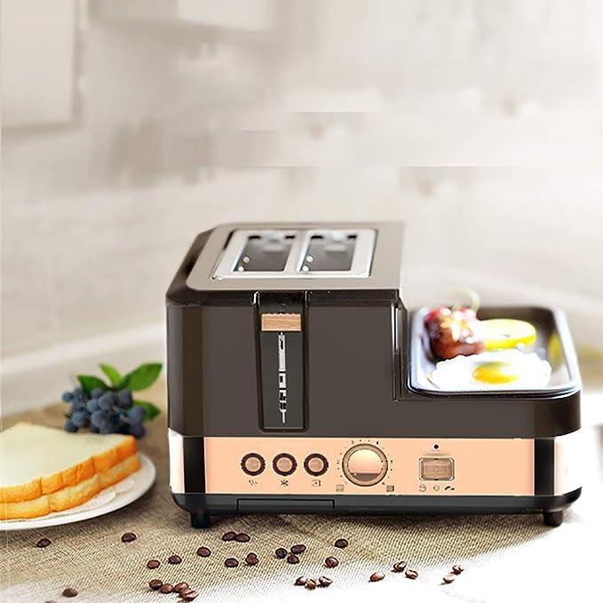 Multifunción Tostadas del Desayuno tostadora, Retro 3-en-1 Tamaño de la Familia Desayuno estación, Cafetera, Tostador, Plancha: Amazon.es