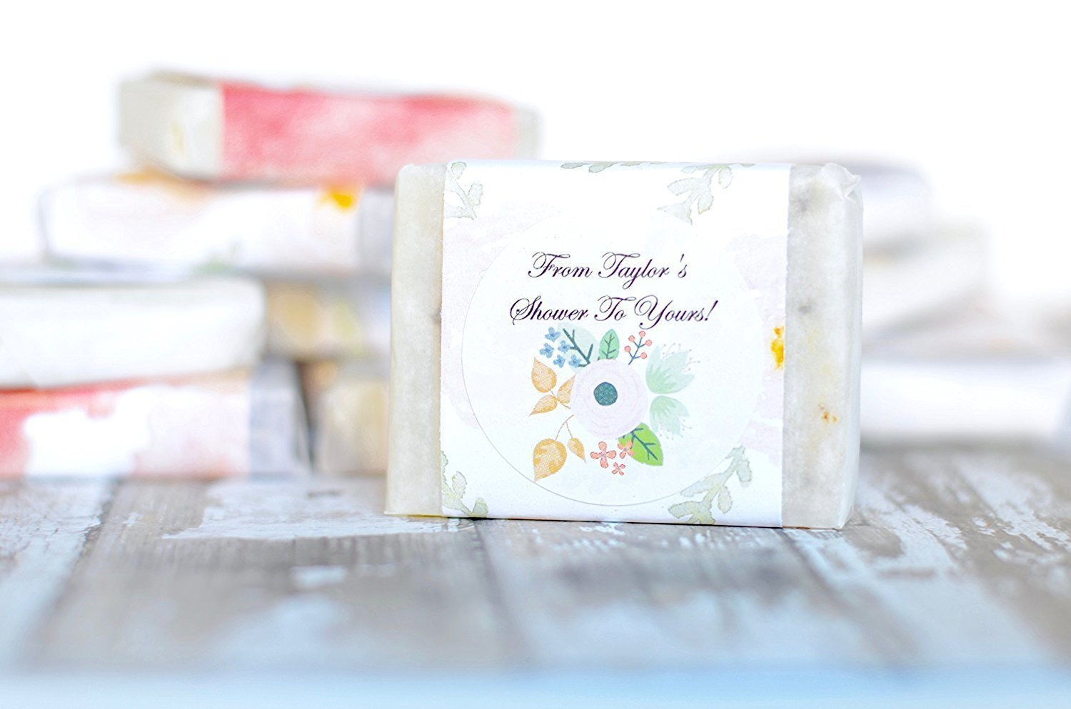 Amazon.com : Personalized Mini Sample Size 24 pcs Guest Soap Favors ...