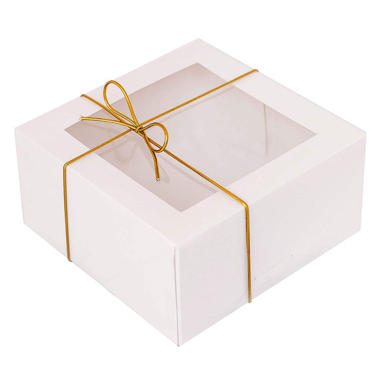 White Bakery Boxes with Window (20 Pack, 6x6x3 Inch)-Includes 20 Gold Elastic Bowties-Pre Assembled Auto Pop Up Bakery Box-Multipurpose use as Cookie Boxes, Dessert Boxes, Pastry Boxes, Treat Boxes-Sitka Spruce.