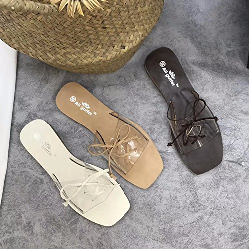 Zapatillas Flat Cruzadas Playa De Zapatos Puntera Correas Korean Cuadrada Sole Khaki La New Bottom qT06zU4