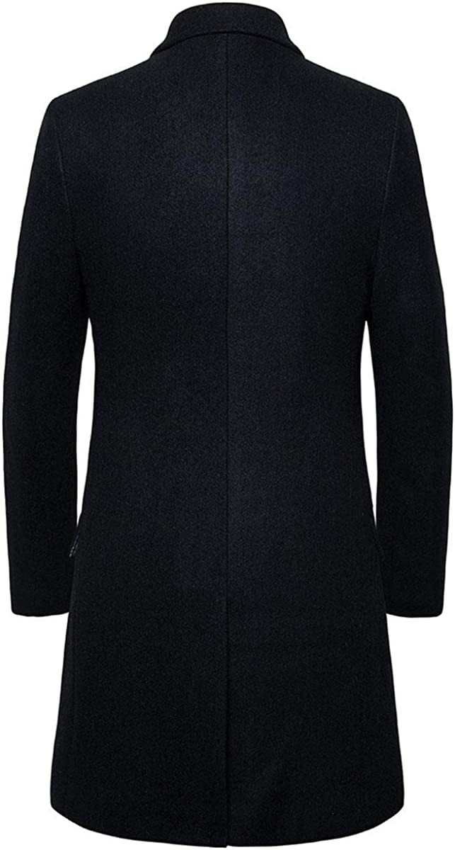 AOWOFS Mens Long Trench Coat Slim Fit Single Breasted Nothched Collar Overcoat Casual Formal Elegant Jacket