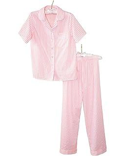 National Woven Striped Pajamas, Pink, Petite Large - Petites Short Sleeve