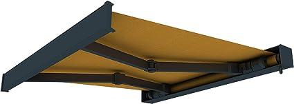 3,5 x 3 m paramondo Kassettenmarkise Curve mit Motor beige-gelb Gestell: anthrazit Stoff: Multi