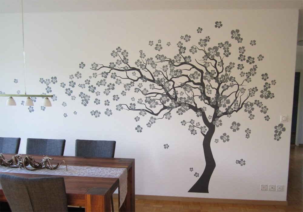 Pop Decors ''Grey Go Left Cherry Blossom Tree Flowers'' Beautiful Wall Stickers for Kids Rooms